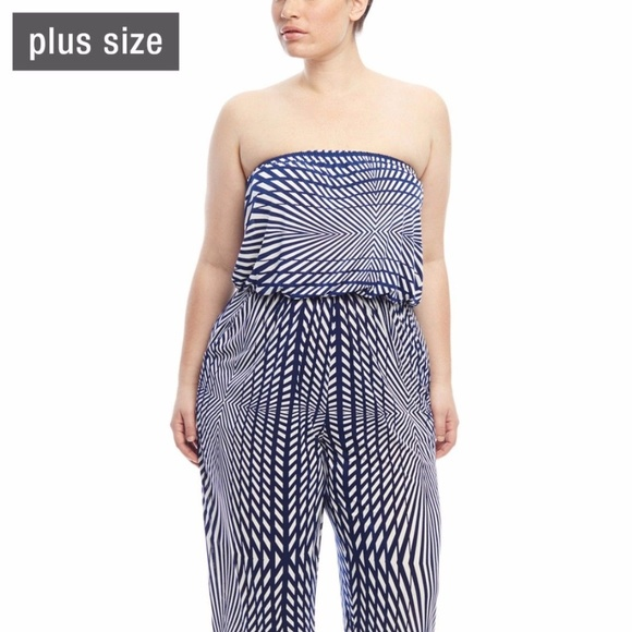 4dcd2c4bf94 MLLE-Gabrielle-Strapless-Printed-Jumpsuit-Size-3X